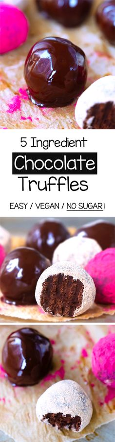 Vegan Chocolate Truffles, with NO sugar, and only 5 ingredients in these raw chocolate truffles