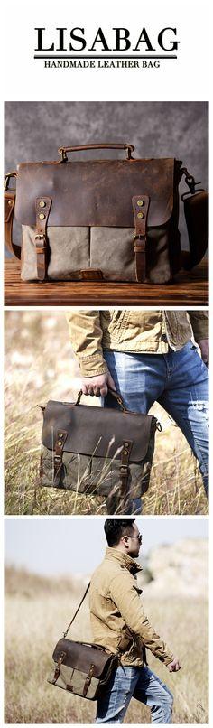 Handmade Canvas Leather Briefcase Messenger Bag Handbag Shoulder Bag Laptop Bag 1807