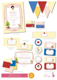 Snow White Party PRINTABLE Collection by OneMagicDayPrintable, $55.00