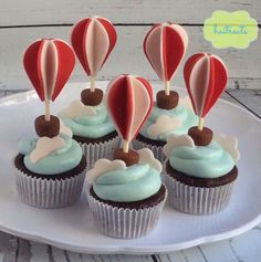 Baby shower cupcakes ideas air balloon Ideas for 2019 Balloon Cupcakes, Hot Air Balloon Cake, Balloon Party, Cake Pops, Mini Cakes, Cupcake Cakes, Beautiful Cupcakes, Baby Shower Cupcakes, Baby Shower Balloons