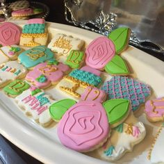 1 dozen Gold Pink Birthday Wedding Thank You Get Well Rose quatrefoil cookies Etsy FrostedSweetPeas