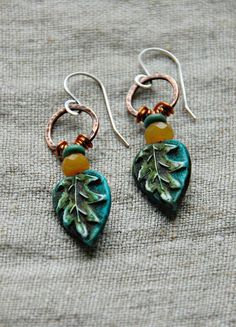 Amazing earrings from Cindy Wimmer using some of my leaf headpins.