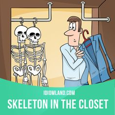 """Skeleton in the closet"" is an embarrassing or unpleasant secret about something that happened in the past. Example: My uncle was in jail for a day once. That's our family's skeleton in the closet."