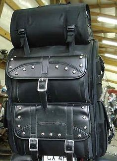 2 Pc. Motorcycle Sissy Bar Back Rest Touring Bag Luggage Set $ 99.00 only on www.kcmcwarehouse.com