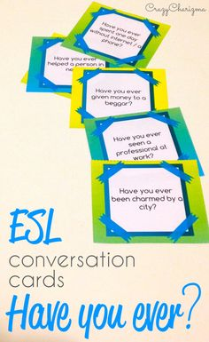"ESL Conversation Cards Have you ever? $ packet contains 40 pages with cards. Find inside 120 questions to engage students in discussion of different ESL topics. All the cards are designed to practice Present Perfect ""Have you ever?"" questions with Pre-Intermediate to Advanced students. 