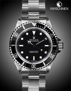 Mens Rolex Stainless Steel Black Dial Black Bezel No Date Submariner. Nice Watches, Watches For Men, James Bond Watch, Sports Models, Rolex Submariner, Man Stuff, Watch Sale, Rolex Watches, Stainless Steel