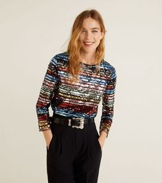 Discover the latest trends in Mango fashion, footwear and accessories. Shop the best outfits for this season at our online store. Plaid Outfits, Fashion Outfits, December Outfits, Glitter Jacket, Black Wardrobe, Sequin Fabric, Sequin Top, Sequin Pants, Trends