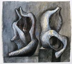 Ideas for Sculpture: Two Seated Figures Charcoal, wax crayon, ballpoint pen, watercolour wash on off-white wove. Abstract Sculpture, Sculpture Art, Metal Sculptures, Bronze Sculpture, Henry Moore Drawings, Henry Moore Sculptures, Ballpoint Pen Art, 3d Figures, Wax Crayons