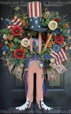 July 4th Wreath - Primitive Uncle Sam by Petals & Plumes ©2012