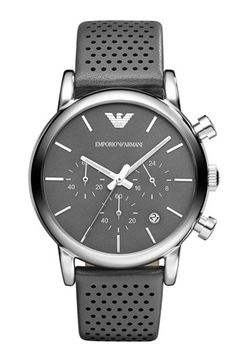 Emporio Armani Perforated Leather Strap Watch, 41mm   Nordstrom