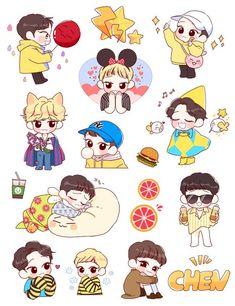 Exo Stickers, Kawaii Stickers, Cute Stickers, Exo Cartoon, Exo Fanart, Exo Anime, Bts Chibi, Anime Style, Cute Art