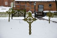Graveyard Crosses in the Snow.