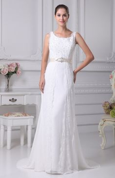 Modest Church Sheath Scalloped Edge Sleeveless Zip up Lace Bridal Gowns - iFitDress.com