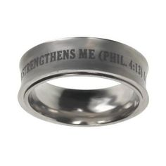 "Christian Mens Silver Stainless Steel 8mm Abstinence ""I Can Do All Things Through Christ Who Strengthens Me"" Philippians 4:13 Chastity Ring for Boys - Guys Purity Ring Spirit & Truth. $23.99"