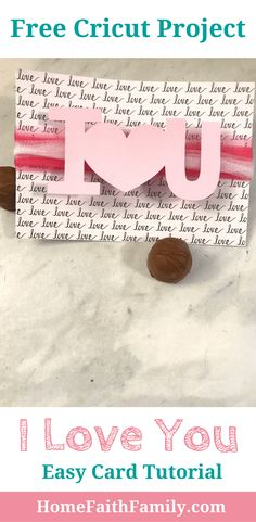 This free Cricut project I Love You card is perfect for beginners. Create a beautiful card within minutes. Click to grab your free tutorial. #Cricut #Cricutmade #DIY #love