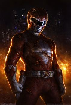 Red Mighty Morphin Power Ranger. Dark picture, but still really cool. that show was a big part of my childhood