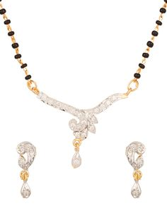 Stylish Cz Encrusted,Chain Bead Mangalsutra Set