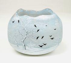 A rare Daum Nancy blackbird vase