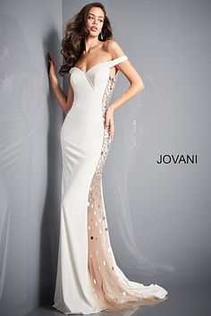 Jovani 03615 Off White Cut Glass Sides Prom Dress Prom Dresses Jovani, Sexy Wedding Dresses, Pageant Dresses, Off Shoulder Fashion, Prom Dress Stores, Designer Prom Dresses, Ivory Dresses, Holiday Dresses, Formal Gowns