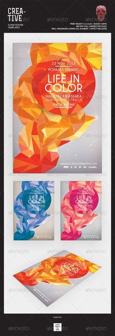 """Creative Flyer Templates #GraphicRiver Featured Flyers Flyer Artwork """"Life In Color"""" This flyer was designed to promote an Electro / Dubstep / Dance / Drum and Bass / Techno / House music event, such as a gig, concert, festival, dj set, party or weekly event in a music club and other kind of special evenings. This flyer can also be used for a new album promotion or other advertising purposes. Detail : 1 Psd files 4×6 with 0.25 inch bleed area 300 dpi/CMYK Organized layers Print ready Font…"""