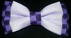 Double dog bow tie. Purple Checkered with lavender  www.dogbowtique.com
