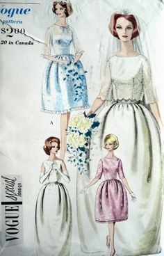 1960s BRIDAL DRESS  WEDDING GOWN PATTERN BELL SHAPED, BOLERO, PETTICOAT  VOGUE SPECIAL DESIGN 4203 Bust 36 and 38 UNCUT