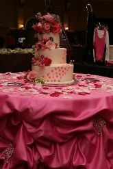 Pink & White wedding cake and table decor.