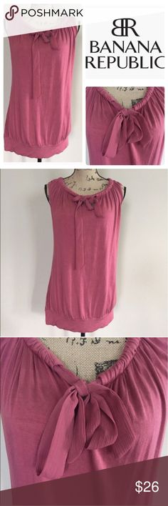 """Banana Republic chiffon tie neck tank Incredibly soft knit tunic tank from Banana Republic. Deep rouge color, bateau neckline with chiffon accent tie and pleating. Banded bottom hem. Loose fit. Size M. EUC. Bust measures 20"""", length 27"""". 🍍 Banana Republic Tops Tunics"""