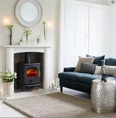 pale lounge decor and fireplace