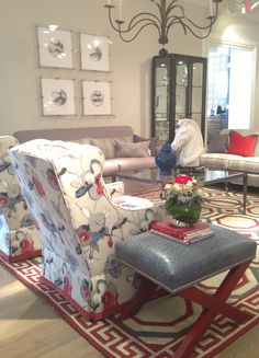 Fresh & fun color at Wesley Hall! This vignette featuring the Colette chair really caught my eye! Large scale print in fresh blues & red & a contrast band around the skirt that really brings out the red. 310 N Hamilton #hpmkt #stylespotters #classic #red #blue