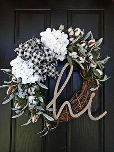 Buffalo Plaid and Cotton Wreath Fall Wreath Winter Wreath Christmas Mesh Wreaths, Deco Mesh Wreaths, Holiday Wreaths, Ribbon Wreaths, Winter Wreaths, Floral Wreaths, Burlap Wreaths, Prim Christmas, Spring Wreaths