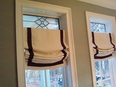 Linen Relaxed Roman Shade Ribbon Trimmed - Sides and Bottom. $244.87, via Etsy.