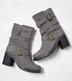 Grey Buckled Up Boot