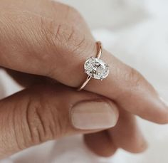 Needs diamond band - Oval Solitaire Bespoke Engagement Ring. A carat diamond, set in white gold on a fine rose gold band. Bling Bling, Bijoux Or Rose, Thing 1, Wedding Rings Simple, Elegant Wedding, Types Of Wedding Rings, Trendy Wedding, Minimalist Wedding Rings, Diamond Engagement Rings