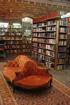 Books + Couches= LOVE. This is a used bookstore in the UK