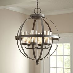 Features:  -Supplied with wire pre-laced through chain.  -Decorative finish to accent and brighten room.  -Dimmable.  -Indoor use: Yes.  -Chandelier color: Black; bronze .  Chandelier Type: -Candle-St