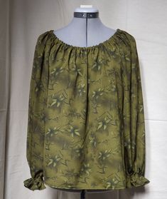Green gathered blouse size 8 & 10 Bias Tape, Green Blouse, Corset, Off The Shoulder, Looks Great, Size 10, Cosplay, Leggings, Costumes