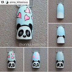 Pin on White Coffin Shaped Nails Pin on White Coffin Shaped Nails Cute Nail Art, Nail Art Diy, Diy Nails, Manicure, Panda Nail Art, Animal Nail Art, Cartoon Nail Designs, Nail Art Designs Videos, Nail Art Noel