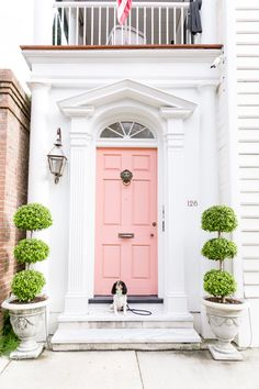 Pretty white house with a pink front door and topiaries on either side of the entryway. Charleston rainbow row style home. Home design decor inspiration ideas. Design Exterior, Enchanted Home, Front Door Colors, Front Doors, Tuscan Decorating, Pink Houses, Colorful Interiors, My Dream Home, Beautiful Homes