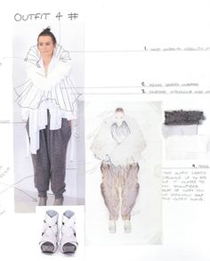 Fashion Sketchbook - fashion design process with sketches, annotation & fabric ideas - developing a collection; fashion portfolio // Rebecca Thomson