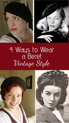 How to wear a beret vintage style Hipster Grunge, Grunge Goth, Street Style Vintage, Vintage Style, 1940s Style, Vintage Wear, Over The Top, Rockabilly, Romantic Winter Getaways