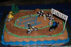 Dirt bike cake with fondant flags, rocks and finish sign.I used cocoa pebbles for the dirt bike path. Bike Birthday Parties, Dirt Bike Birthday, Birthday Ideas, Dirt Bike Cakes, Dirt Bike Party, Fondant Cakes, Cupcake Cakes, Fun Party Themes, Party Ideas