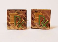 Vintage Pair 12k Gold Filled Cufflinks Cuff Links RX Pharmacy Enamel Toggle Back