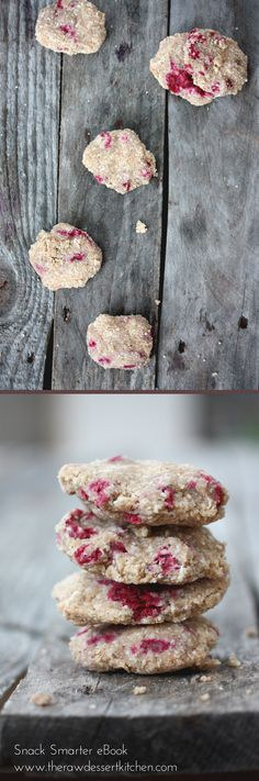 "Raw, vegan ""Fortune Vanilla Raspberry Cookies"" from Snack Smarter ebook, page 114. Get your copy here: www.therawdessertkitchen.com"