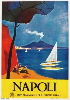 TV87 Vintage 1960's Napoli Naples Italian Italy Travel Tourism Poster A2/A3/A4 Vintage Italian Posters, Art Vintage, Vintage Italy, Vintage Travel Posters, Poster Vintage, Travel Ads, Travel Tourism, Travel Destinations, Tourism Poster
