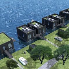 These Half-million-dollar Floating Villas Can Withstand Category 4 Hurricanes Floating Architecture, Architecture Design, Fran Silvestre, Unusual Hotels, Houseboat Living, Eco Buildings, Water House, Container House Plans, Tiny House Cabin