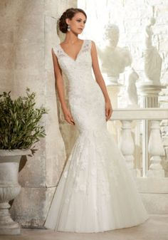 5313 Crystal Beaded Alencon Lace Appliques on Tulle Mori Lee Bridal Wedding Dress | Morilee