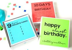 If you fancy giving something a little bit different then why not print Eighteen 25's birthday countdown box? Each printable can be stuck to a nesting box so they can open one a day on the countdown to their big day. Birthday Box, Cute Birthday Gift, 10th Birthday, Free Birthday, Free Printable Birthday Cards, Free Printables, Birthday Countdown, Traditions To Start, Craft Party