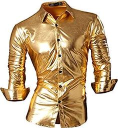 Jeansian Hombre Camisas Bronceado Delgado Button Down Largo Mangas Dress Shirts Tops Z036 Gold L