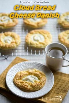 An egg fast friendly keto diet cloud bread cheese danish recipe that's super low in total carbs. It's a nice low carb treat to enjoy any time of day. Fast Low Carb, Keto Egg Fast, Low Carb Desserts, Low Carb Recipes, Bread Recipes, Tuna Recipes, Diabetic Desserts, Atkins Recipes, Diabetic Recipes